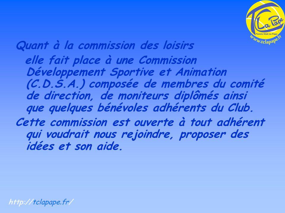 Quant à la commission des loisirs elle fait place à une Commission Développement Sportive et Animation (C.D.S.A.) composée de membres du comité de direction, de moniteurs diplômés ainsi que quelques bénévoles adhérents du Club.