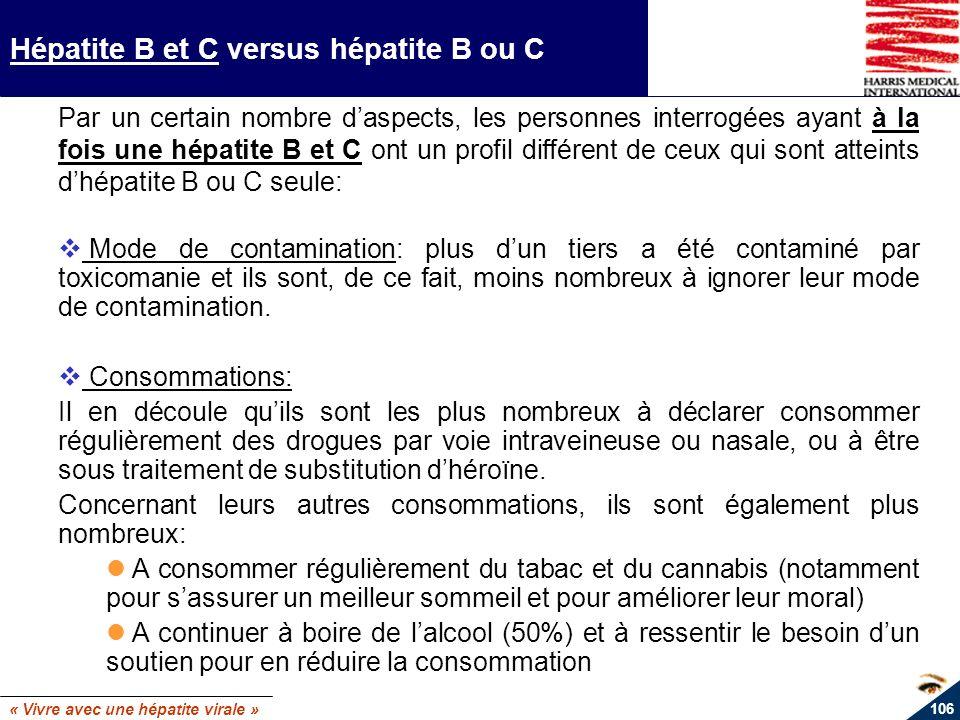 « Vivre avec une hépatite virale » 106 Hépatite B et C versus hépatite B ou C Par un certain nombre daspects, les personnes interrogées ayant à la foi