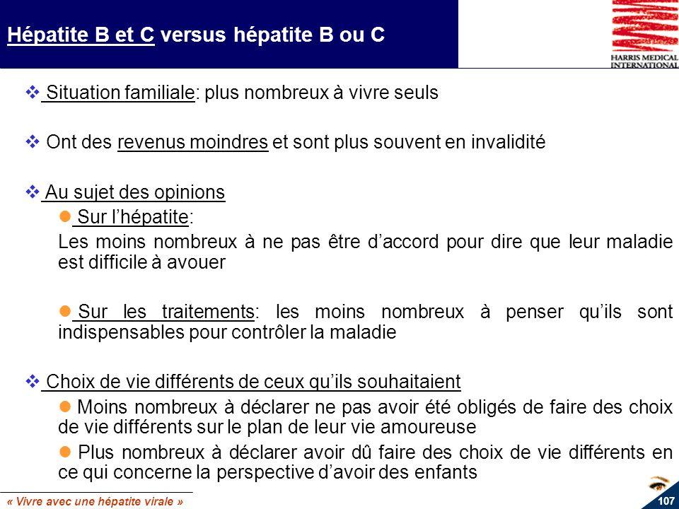 « Vivre avec une hépatite virale » 107 Hépatite B et C versus hépatite B ou C Situation familiale: plus nombreux à vivre seuls Ont des revenus moindre