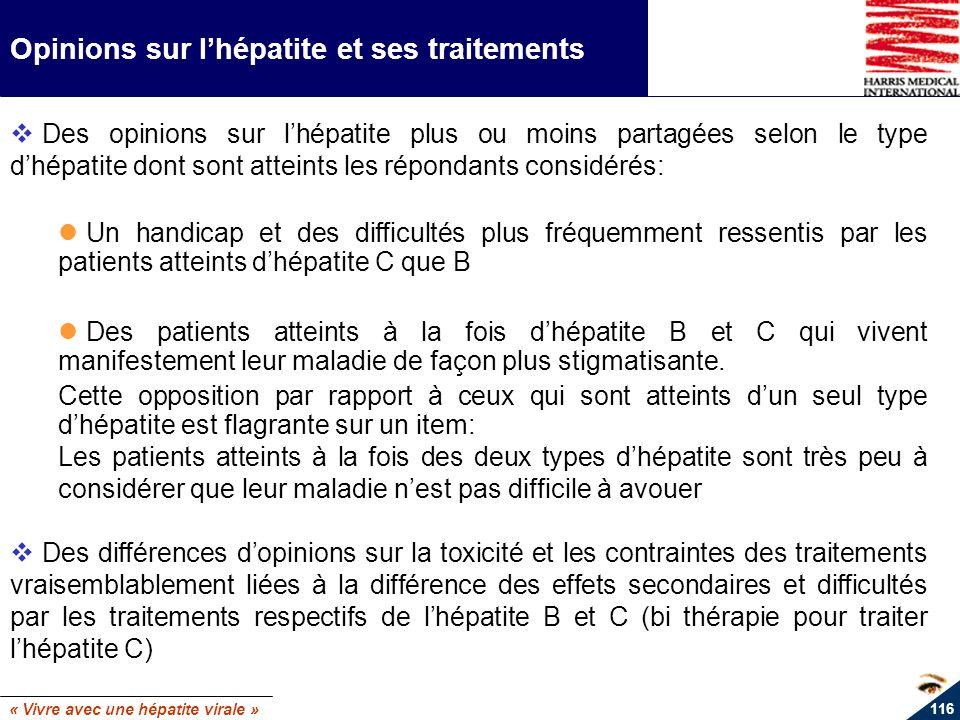 « Vivre avec une hépatite virale » 116 Opinions sur lhépatite et ses traitements Des opinions sur lhépatite plus ou moins partagées selon le type dhép