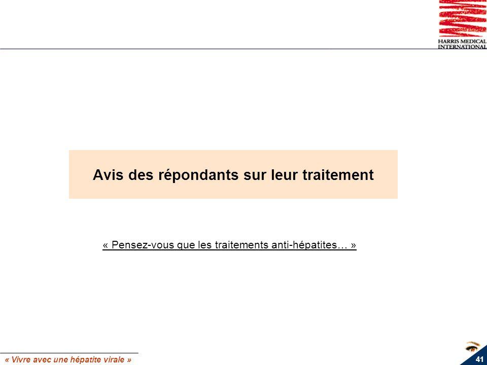 « Vivre avec une hépatite virale » 41 Avis des répondants sur leur traitement « Pensez-vous que les traitements anti-hépatites… »