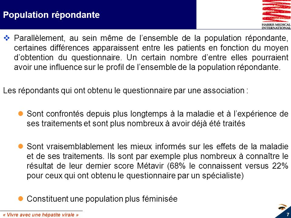 « Vivre avec une hépatite virale » 7 Population répondante Parallèlement, au sein même de lensemble de la population répondante, certaines différences