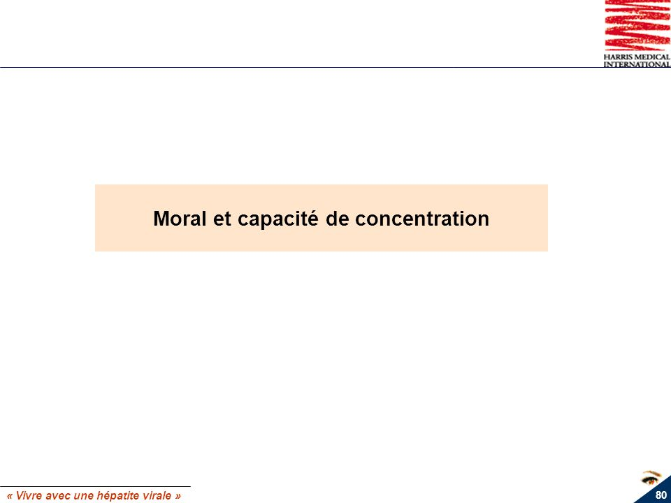 « Vivre avec une hépatite virale » 80 Moral et capacité de concentration