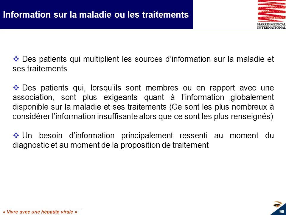 « Vivre avec une hépatite virale » 98 Information sur la maladie ou les traitements Des patients qui multiplient les sources dinformation sur la malad