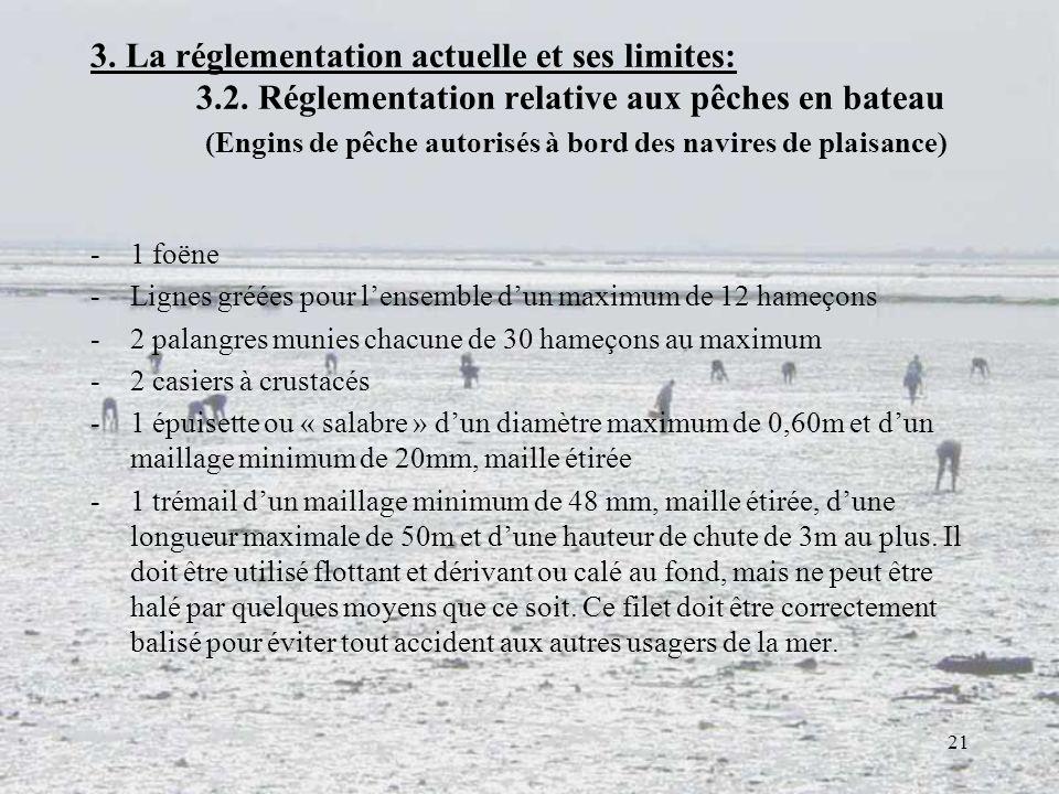 21 3. La réglementation actuelle et ses limites: 3.2. Réglementation relative aux pêches en bateau (Engins de pêche autorisés à bord des navires de pl