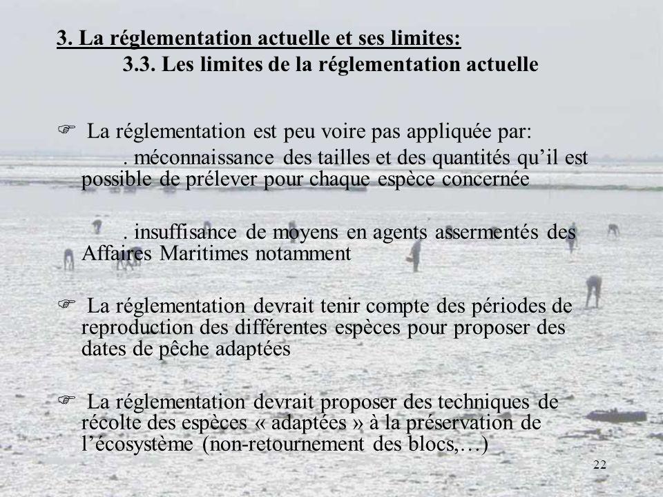 22 3. La réglementation actuelle et ses limites: 3.3. Les limites de la réglementation actuelle La réglementation est peu voire pas appliquée par:. mé
