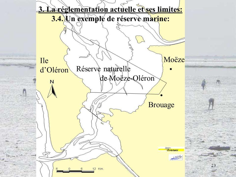 23 Réserve naturelle de Moëze-Oléron 3. La réglementation actuelle et ses limites: 3.4. Un exemple de réserve marine: Ile dOléron Moëze Brouage