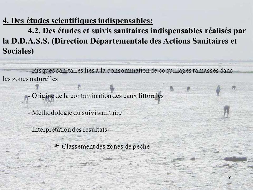 26 4. Des études scientifiques indispensables: 4.2. Des études et suivis sanitaires indispensables réalisés par la D.D.A.S.S. (Direction Départemental