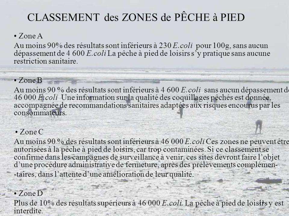 31 CLASSEMENT des ZONES de PÊCHE à PIED Zone A Au moins 90% des résultats sont inférieurs à 230 E.coli pour 100g, sans aucun dépassement de 4 600 E.co