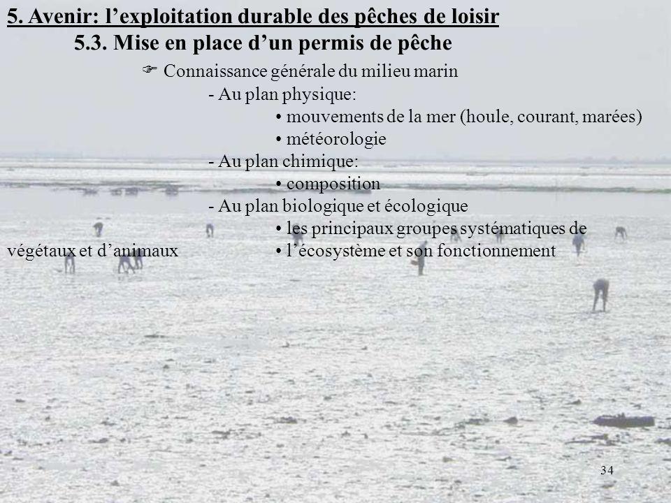 34 5. Avenir: lexploitation durable des pêches de loisir 5.3. Mise en place dun permis de pêche Connaissance générale du milieu marin - Au plan physiq