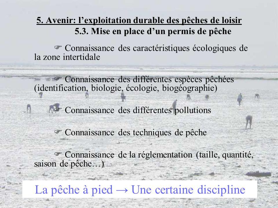 35 5. Avenir: lexploitation durable des pêches de loisir 5.3. Mise en place dun permis de pêche Connaissance des caractéristiques écologiques de la zo