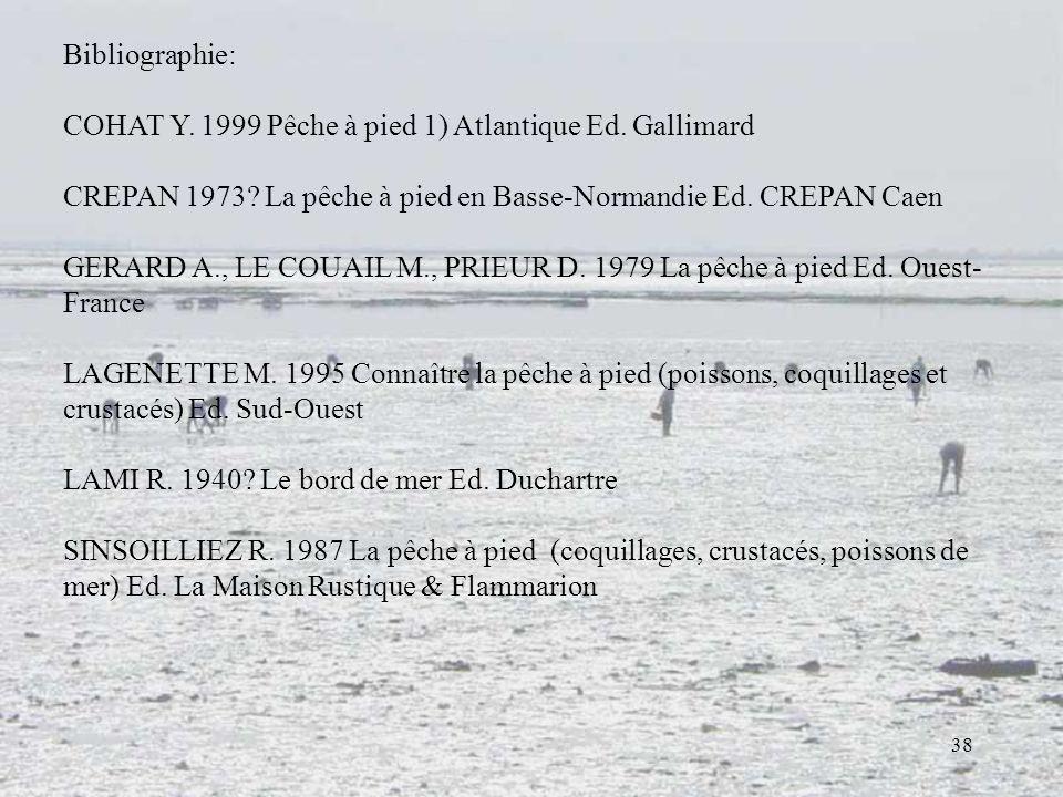 38 Bibliographie: COHAT Y. 1999 Pêche à pied 1) Atlantique Ed. Gallimard CREPAN 1973? La pêche à pied en Basse-Normandie Ed. CREPAN Caen GERARD A., LE