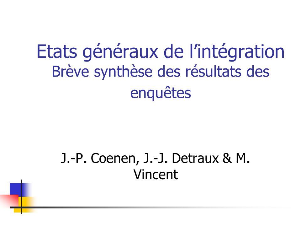 Etats généraux de lintégration Brève synthèse des résultats des enquêtes J.-P. Coenen, J.-J. Detraux & M. Vincent