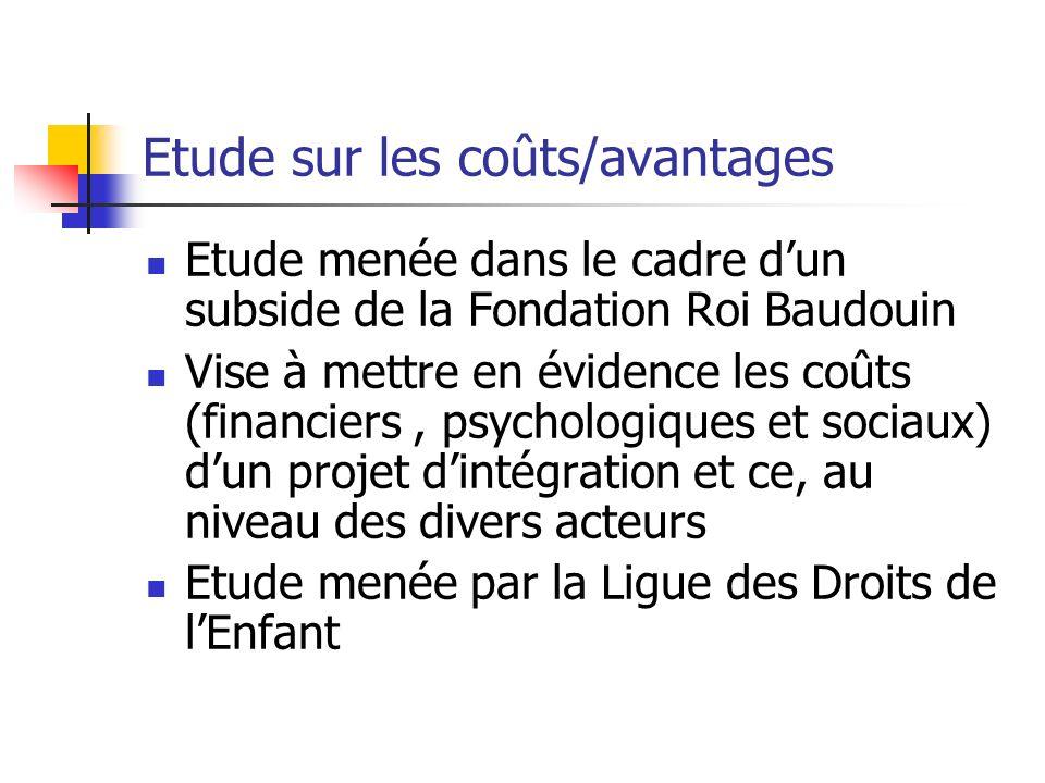 Etude sur les coûts/avantages Etude menée dans le cadre dun subside de la Fondation Roi Baudouin Vise à mettre en évidence les coûts (financiers, psyc