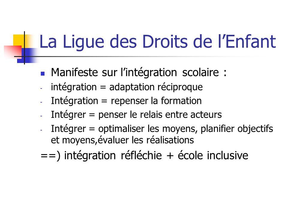 La Ligue des Droits de lEnfant Manifeste sur lintégration scolaire : - intégration = adaptation réciproque - Intégration = repenser la formation - Int
