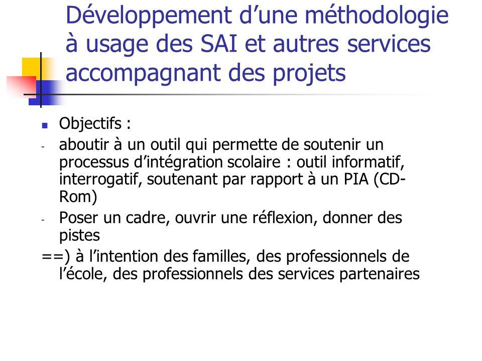 Développement dune méthodologie à usage des SAI et autres services accompagnant des projets Objectifs : - aboutir à un outil qui permette de soutenir