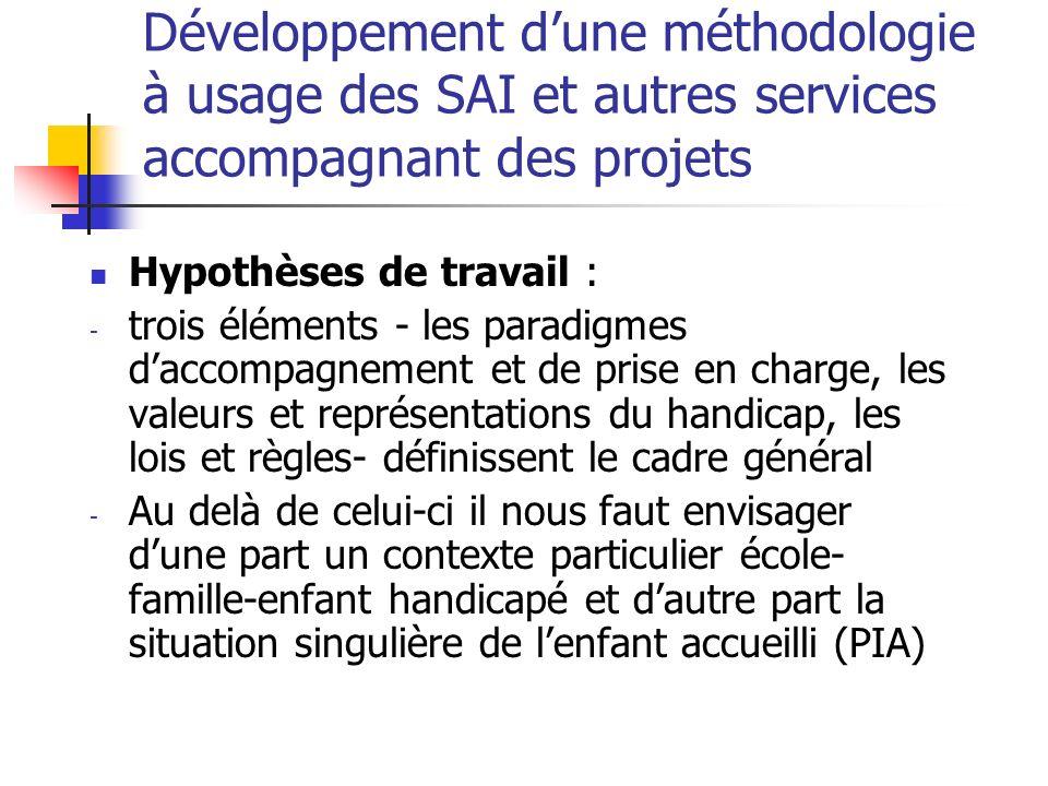 Développement dune méthodologie à usage des SAI et autres services accompagnant des projets Hypothèses de travail : - trois éléments - les paradigmes