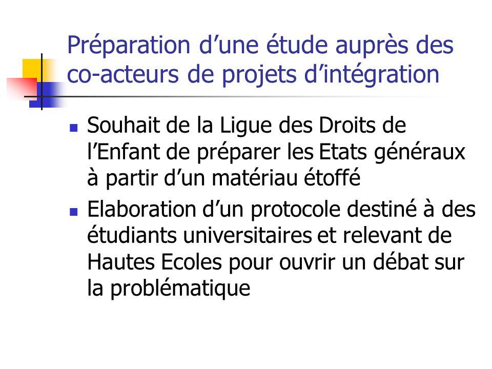 Préparation dune étude auprès des co-acteurs de projets dintégration Souhait de la Ligue des Droits de lEnfant de préparer les Etats généraux à partir dun matériau étoffé Elaboration dun protocole destiné à des étudiants universitaires et relevant de Hautes Ecoles pour ouvrir un débat sur la problématique