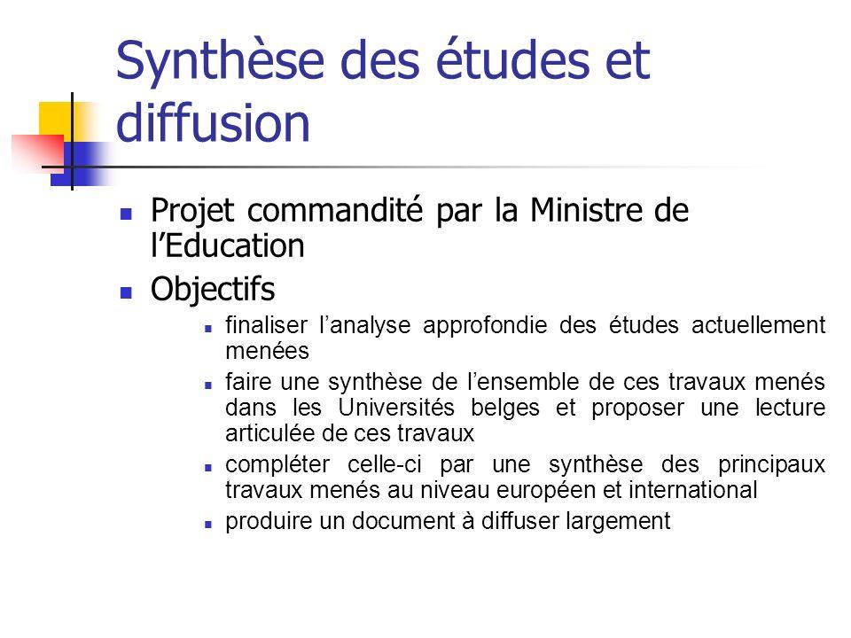 Synthèse des études et diffusion Projet commandité par la Ministre de lEducation Objectifs finaliser lanalyse approfondie des études actuellement mené