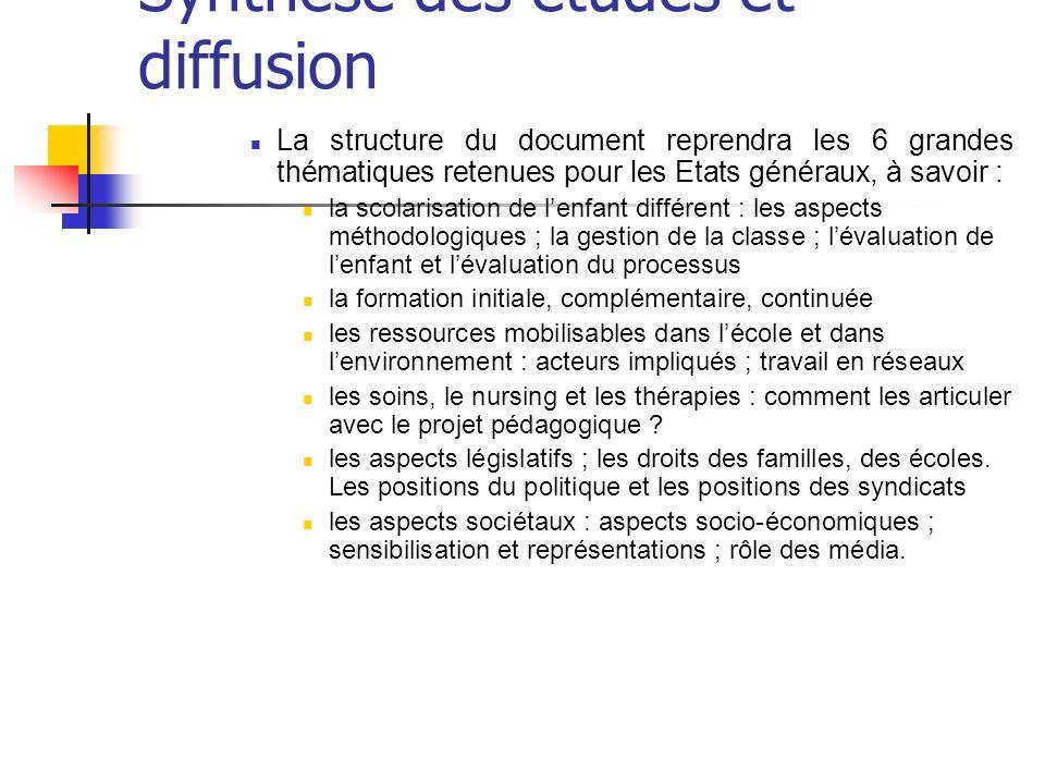Synthèse des études et diffusion La structure du document reprendra les 6 grandes thématiques retenues pour les Etats généraux, à savoir : la scolaris
