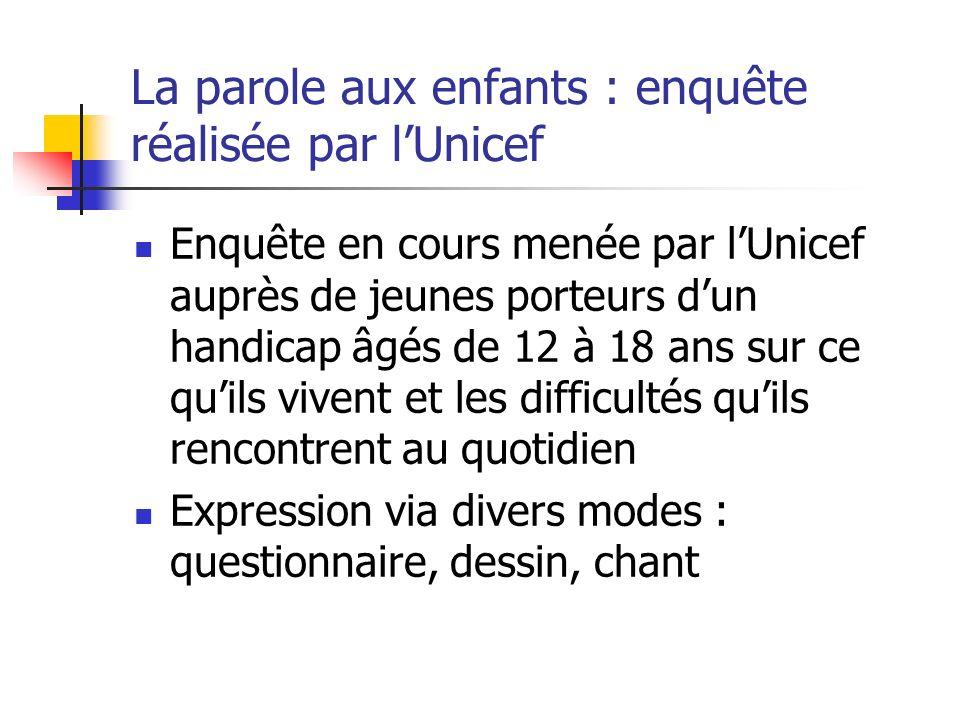 La parole aux enfants : enquête réalisée par lUnicef Enquête en cours menée par lUnicef auprès de jeunes porteurs dun handicap âgés de 12 à 18 ans sur
