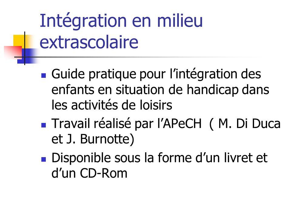 Intégration en milieu extrascolaire Guide pratique pour lintégration des enfants en situation de handicap dans les activités de loisirs Travail réalisé par lAPeCH ( M.