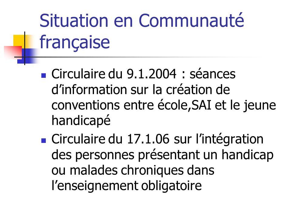 Situation en Communauté française Circulaire du 9.1.2004 : séances dinformation sur la création de conventions entre école,SAI et le jeune handicapé C