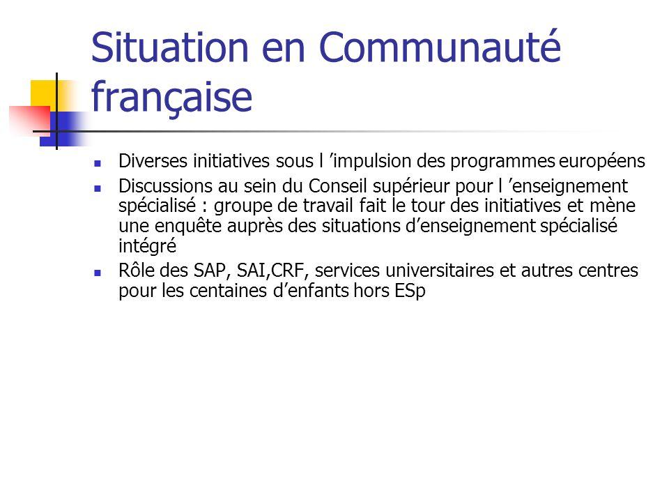 Situation en Communauté française Diverses initiatives sous l impulsion des programmes européens Discussions au sein du Conseil supérieur pour l ensei