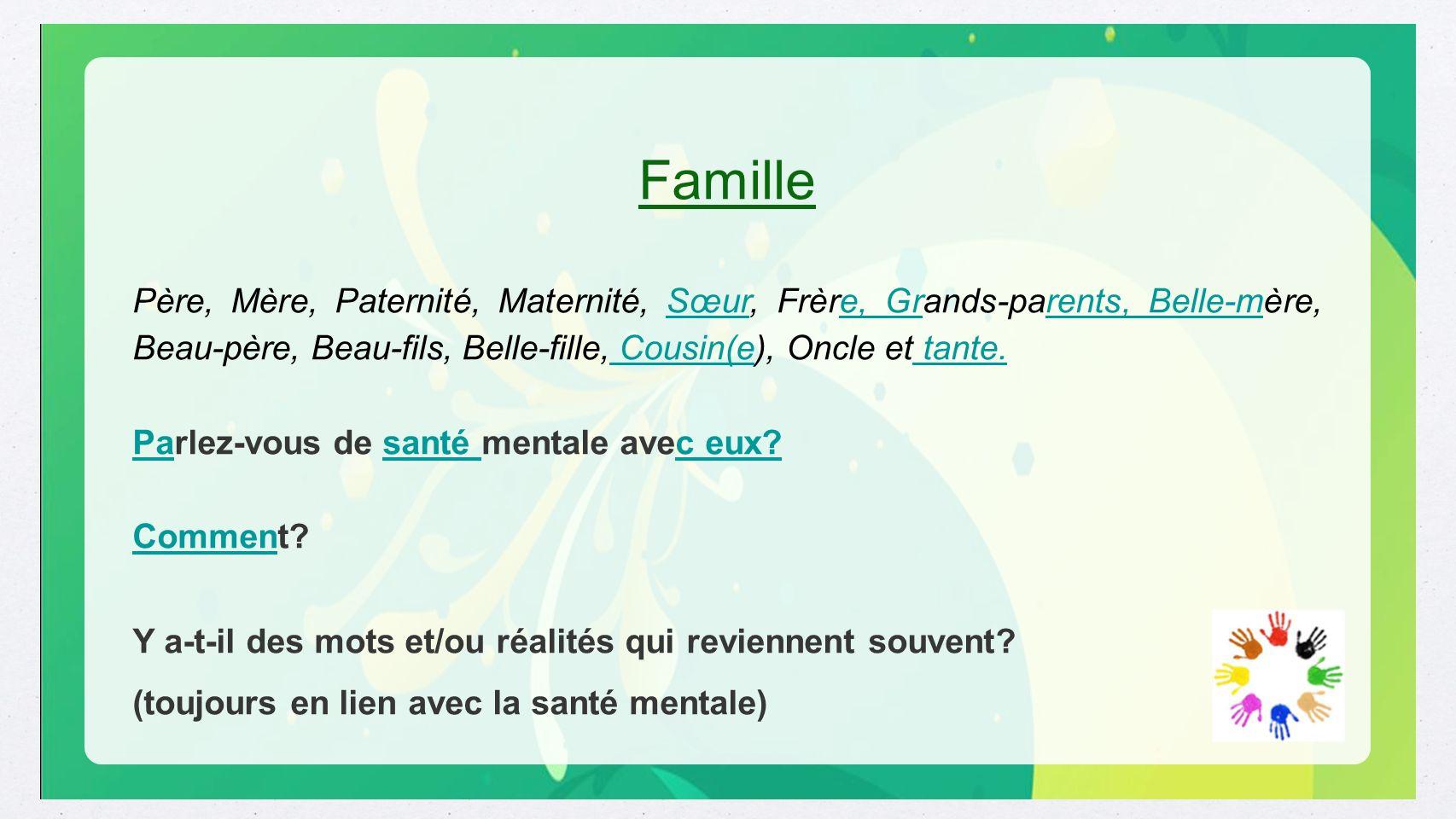 Famille Père, Mère, Paternité, Maternité, Sœur, Frère, Grands-parents, Belle-mère, Beau-père, Beau-fils, Belle-fille, Cousin(e), Oncle et tante.Sœure,
