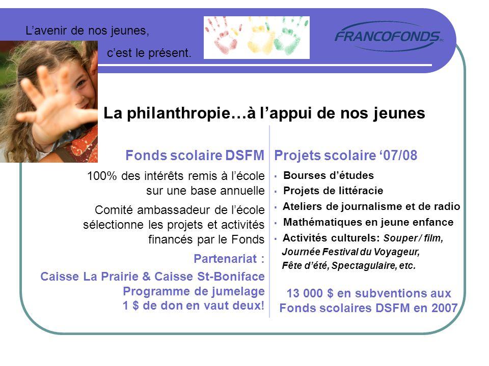 Lavenir de nos jeunes, cest le présent. La philanthropie…à lappui de nos jeunes Fonds scolaire DSFMProjets scolaire 07/08 100% des intérêts remis à lé