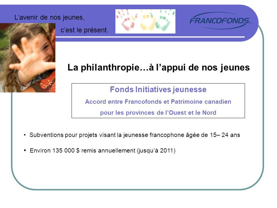 Lavenir de nos jeunes, cest le présent. La philanthropie…à lappui de nos jeunes Fonds Initiatives jeunesse Accord entre Francofonds et Patrimoine cana