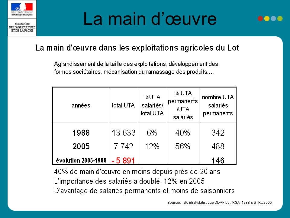 La main dœuvre Sources : SCEES-statistique DDAF Lot, RGA 1988 & STRU2005