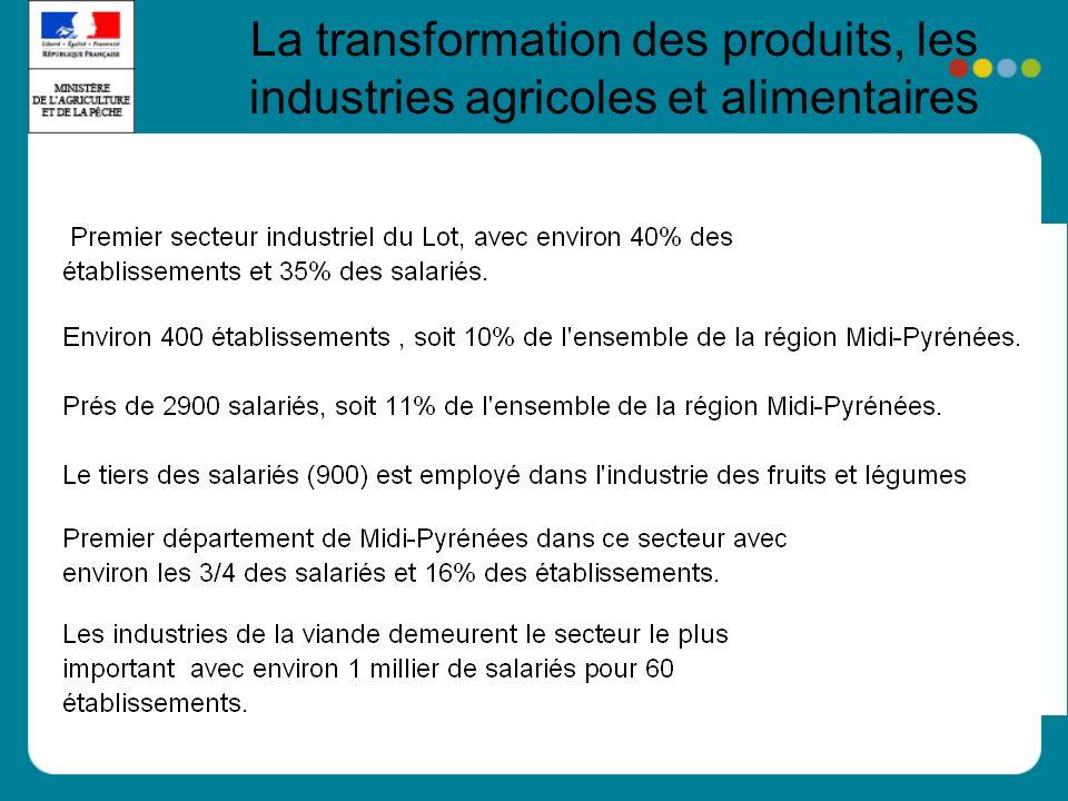 La transformation des produits, les industries agricoles et alimentaires