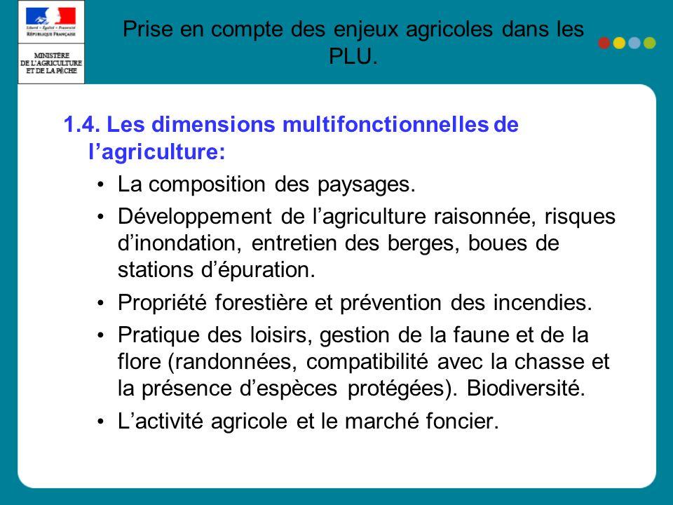 1.4.Les dimensions multifonctionnelles de lagriculture: La composition des paysages.