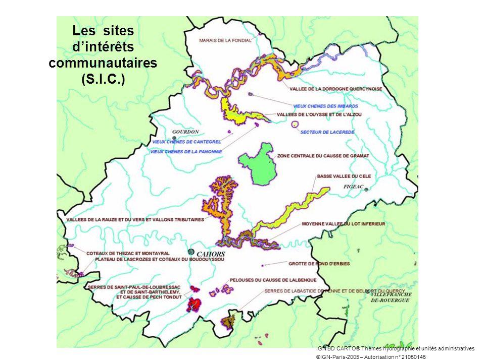 IGN BD CARTO® Thèmes hydrographie et unités administratives ©IGN-Paris-2005 – Autorisation n° 21050145 Les sites dintérêts communautaires (S.I.C.)