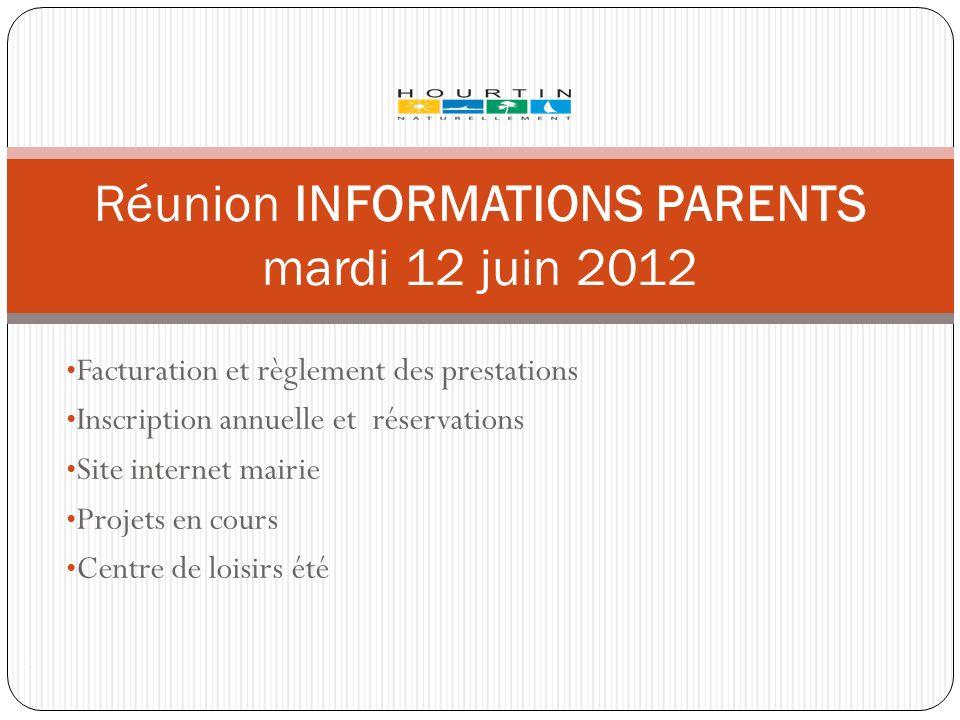 Facturation et règlement des prestations Inscription annuelle et réservations Site internet mairie Projets en cours Centre de loisirs été Réunion INFO