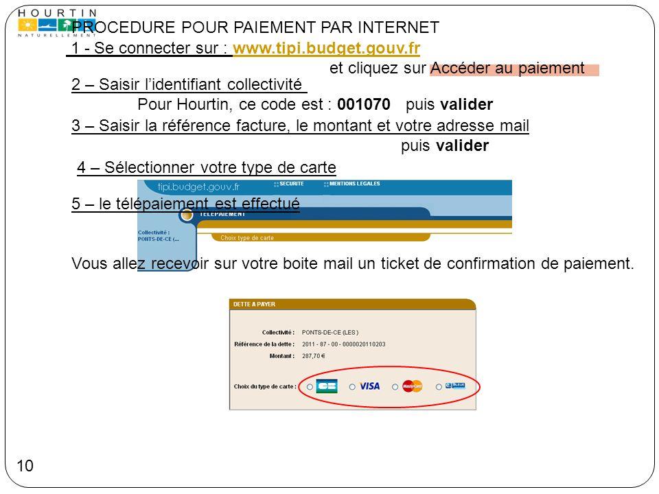 PROCEDURE POUR PAIEMENT PAR INTERNET 1 - Se connecter sur : www.tipi.budget.gouv.frwww.tipi.budget.gouv.fr et cliquez sur Accéder au paiement 2 – Sais