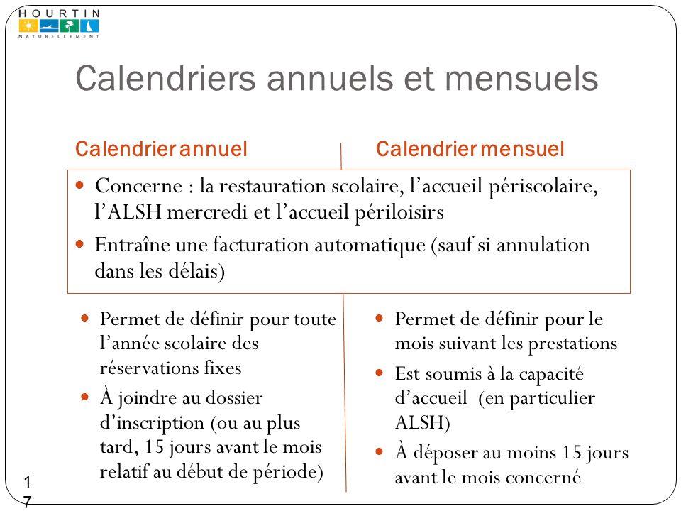 Calendriers annuels et mensuels Calendrier annuelCalendrier mensuel Permet de définir pour toute lannée scolaire des réservations fixes À joindre au d