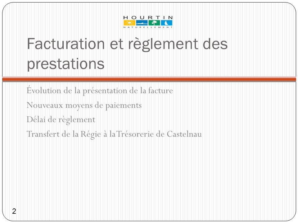 Facturation et règlement des prestations Évolution de la présentation de la facture Nouveaux moyens de paiements Délai de règlement Transfert de la Ré