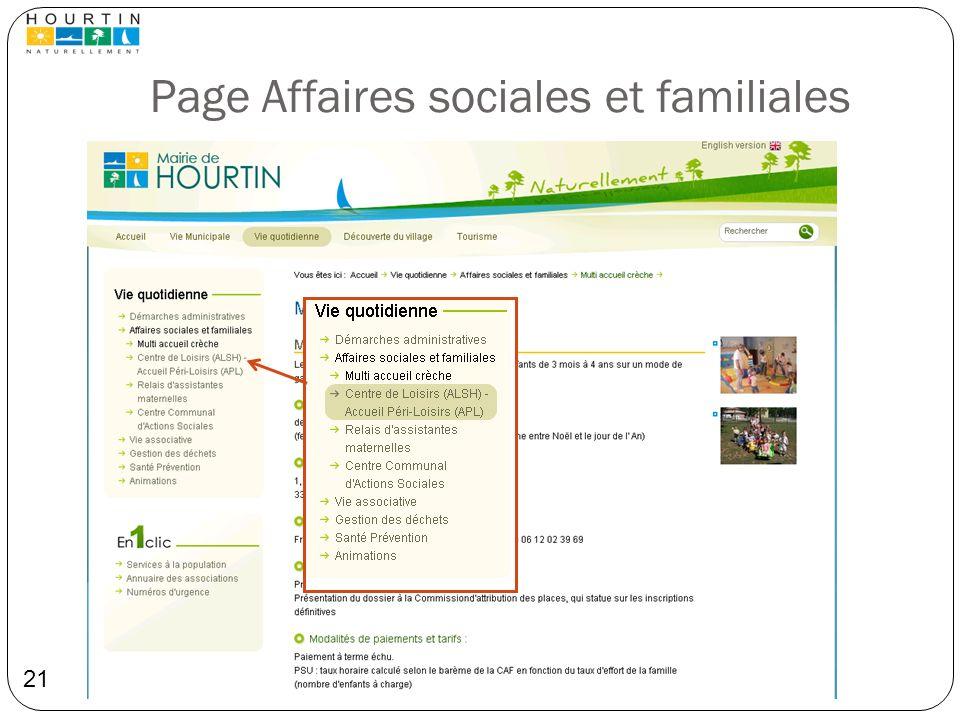Page Affaires sociales et familiales 21