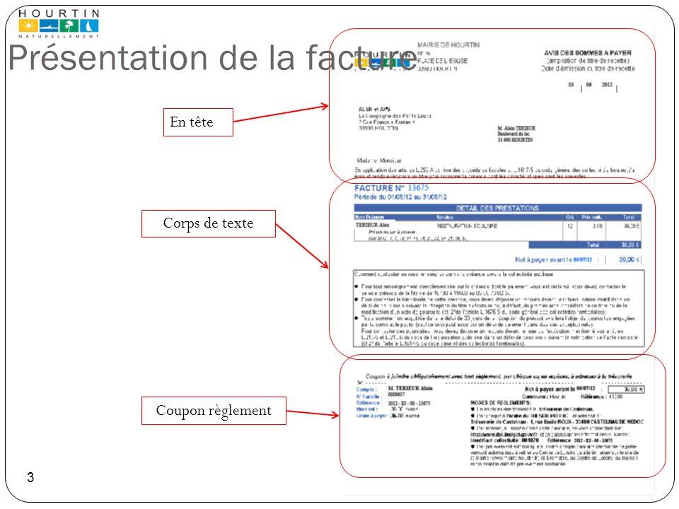 En tête Corps de texte Coupon règlement Présentation de la facture 3