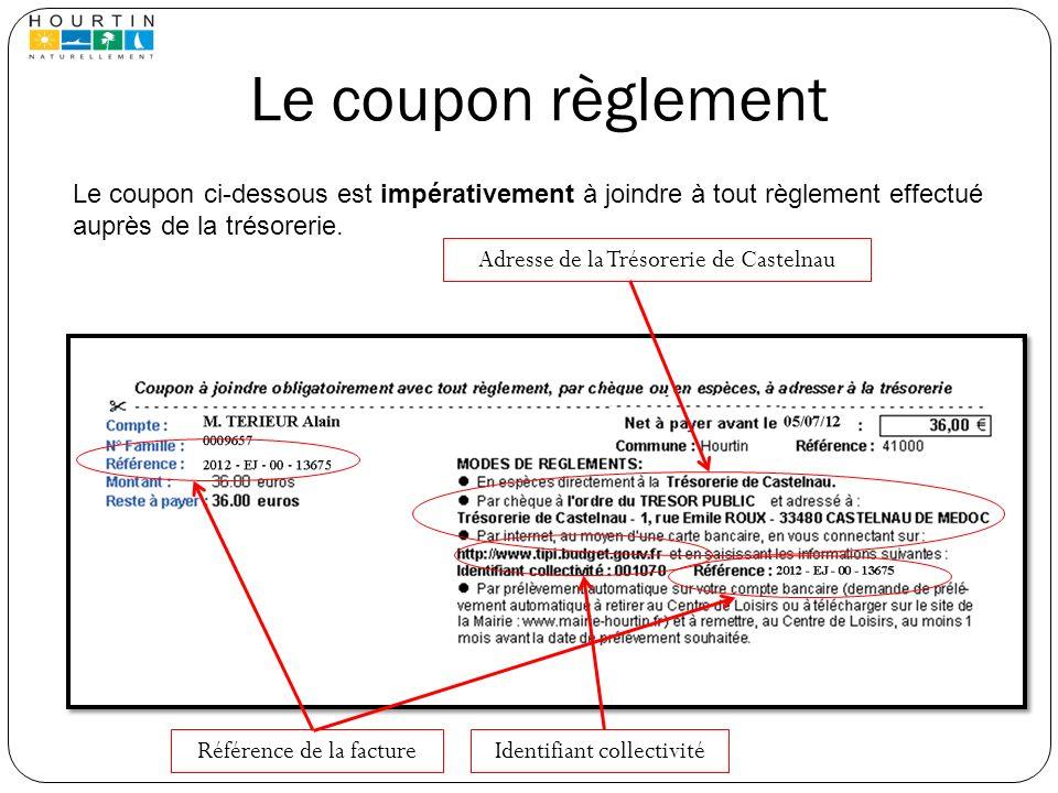 Le coupon règlement Adresse de la Trésorerie de Castelnau Le coupon ci-dessous est impérativement à joindre à tout règlement effectué auprès de la tré