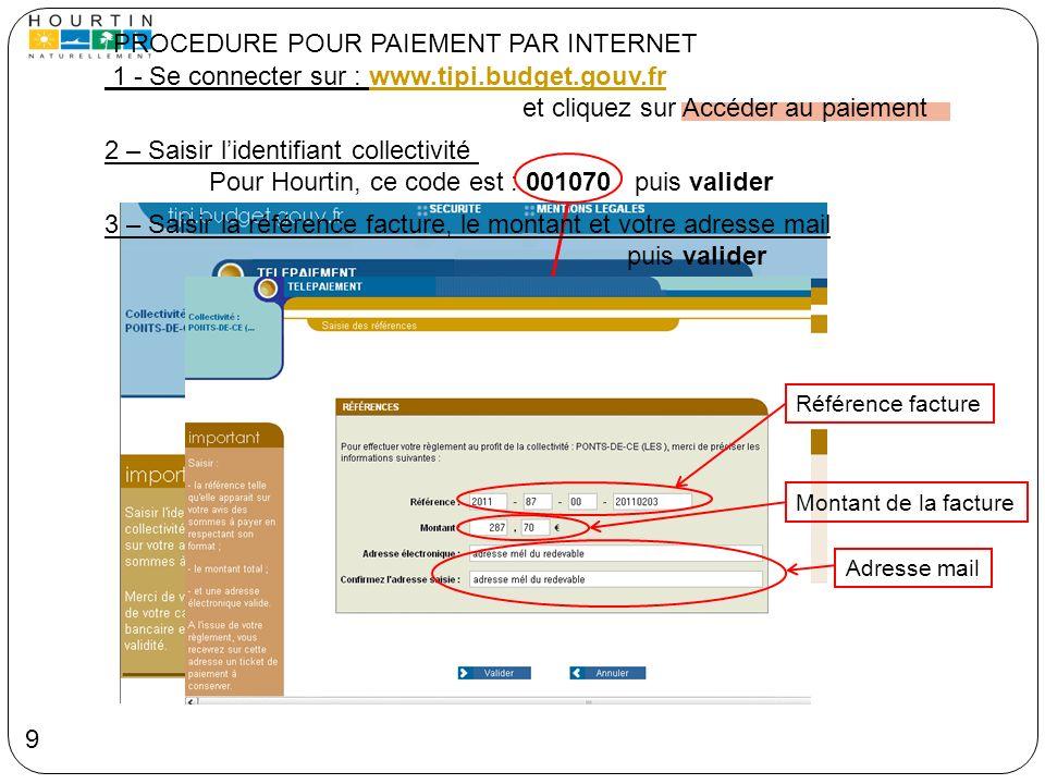 1 - Se connecter sur : www.tipi.budget.gouv.frwww.tipi.budget.gouv.fr et cliquez sur Accéder au paiement PROCEDURE POUR PAIEMENT PAR INTERNET 2 – Sais