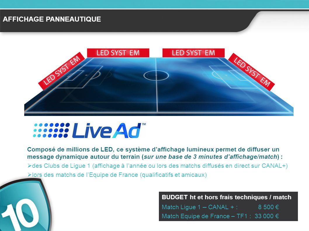AFFICHAGE PANNEAUTIQUE Composé de millions de LED, ce système daffichage lumineux permet de diffuser un message dynamique autour du terrain (sur une base de 3 minutes daffichage/match) : des Clubs de Ligue 1 (affichage à lannée ou lors des matchs diffusés en direct sur CANAL+) lors des matchs de lEquipe de France (qualificatifs et amicaux) BUDGET ht et hors frais techniques / match Match Ligue 1 – CANAL + : 8 500 Match Equipe de France – TF1 : 33 000