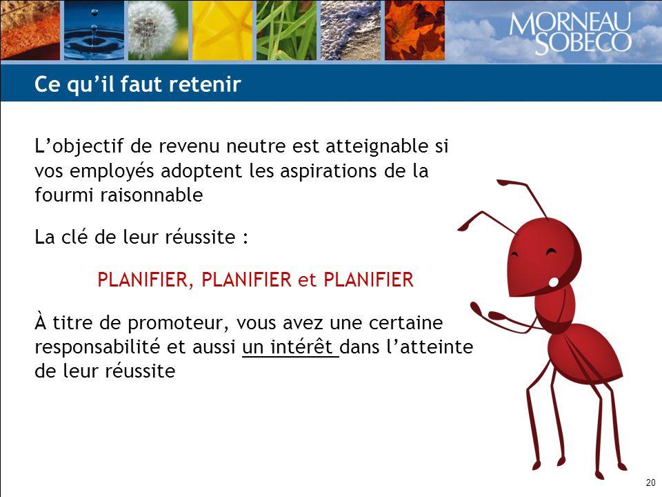 20 Lobjectif de revenu neutre est atteignable si vos employés adoptent les aspirations de la fourmi raisonnable La clé de leur réussite : PLANIFIER, P
