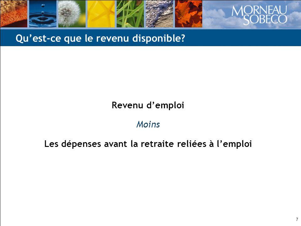 7 Revenu demploi Moins Les dépenses avant la retraite reliées à lemploi Quest-ce que le revenu disponible?