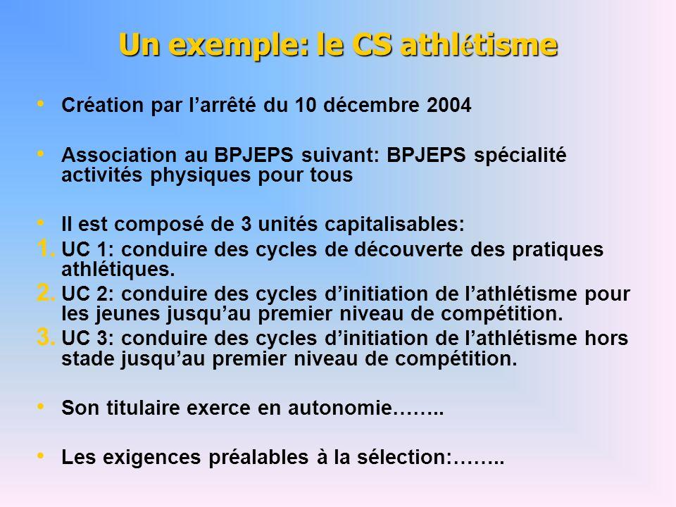 Un exemple: le CS athl é tisme Création par larrêté du 10 décembre 2004 Association au BPJEPS suivant: BPJEPS spécialité activités physiques pour tous