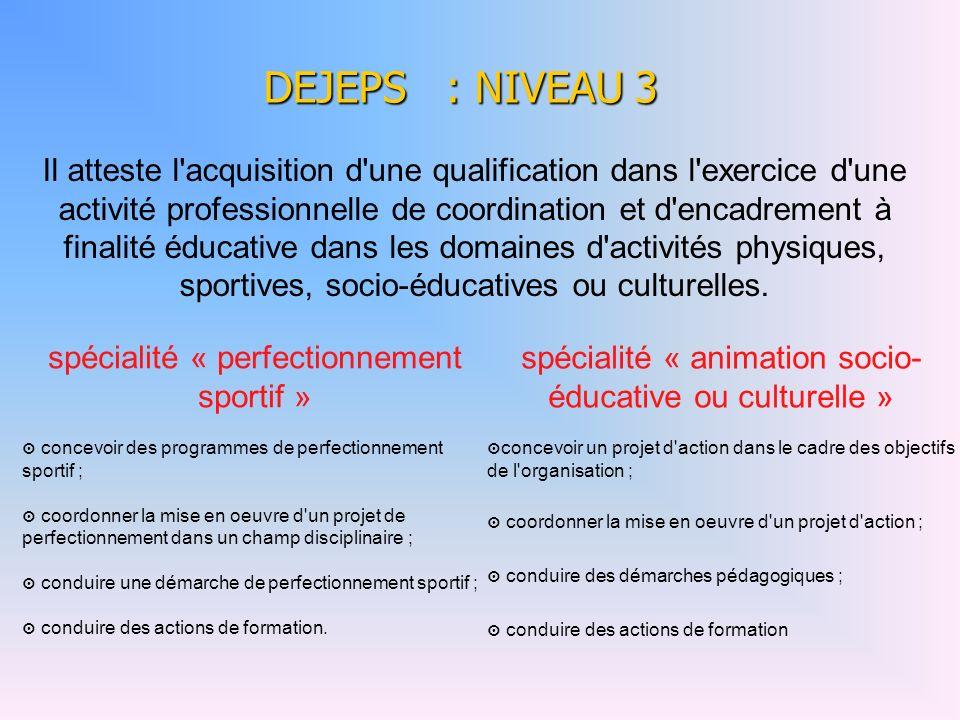 DEJEPS : NIVEAU 3 spécialité « perfectionnement sportif » concevoir des programmes de perfectionnement sportif ; coordonner la mise en oeuvre d'un pro