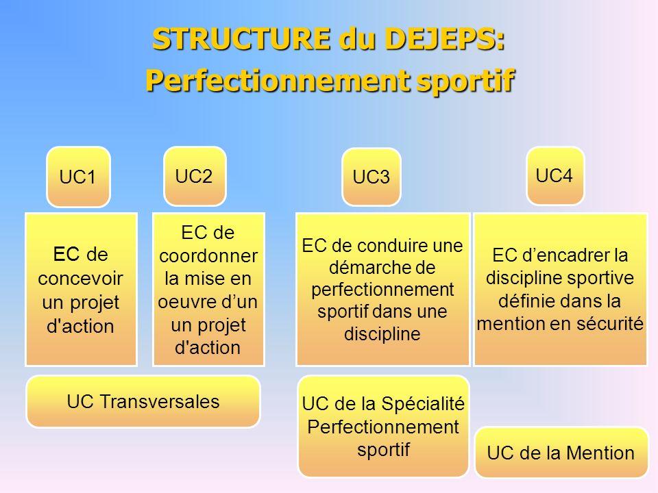 STRUCTURE du DEJEPS: Perfectionnement sportif UC1 UC2 UC3 UC4 EC de concevoir un projet d'action EC de coordonner la mise en oeuvre dun un projet d'ac