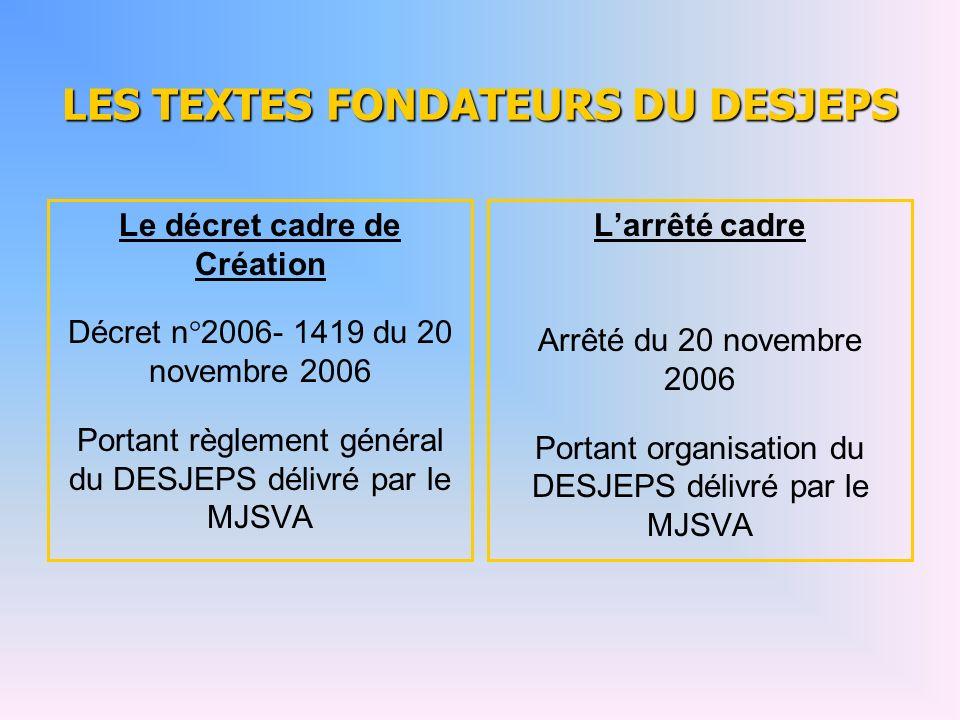 LES TEXTES FONDATEURS DU DESJEPS Le décret cadre de Création Décret n°2006- 1419 du 20 novembre 2006 Portant règlement général du DESJEPS délivré par